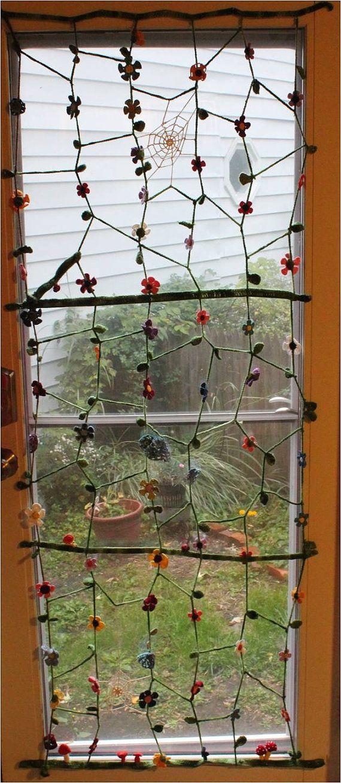 Crochet door curtain--so whimsical! On Etsy: http://www.etsy.com/listing/152824641/crochet-door-curtain