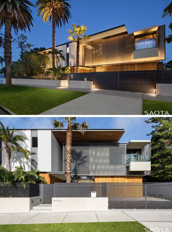 On the facade of this modern house, graphite grey sail screens, made from polycarbonate chainmail, are rigged just off the house providing privacy from the road. #Screens #Architecture #ModernHouse