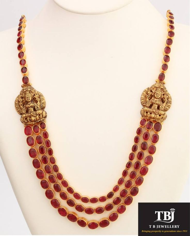 3 Row Ruby Lakshmi antique necklace #tbjewellery #Goldenmoments #diamond #gold #girlslovediamond #jewellery #ruby #antique #necklace