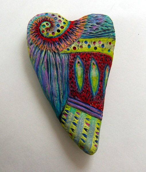 clay and prismacolors: Paintings Rocks, Heart Rocks, Paperclay, Scrap Clay, Pebble Painting, Paintings Heart, Paper Clay, Polymer Clay, Rocks Paintings
