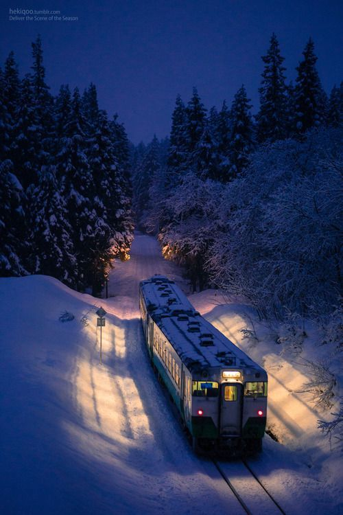 Snowy Train, Japan – Amazing Pictures - Amazing Travel Pictures with Maps for All Around the World
