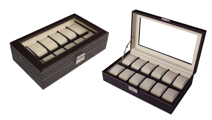 Luxury dark brown leather watch box display Watches case 12 watches  $79.95  Size: 325*190*80 mm Elegant design with dark brown faux leather finished Pillow size 45x70mm Store up to 12 watches Crystal Clear acrylic top brilliant Soft beige velvet
