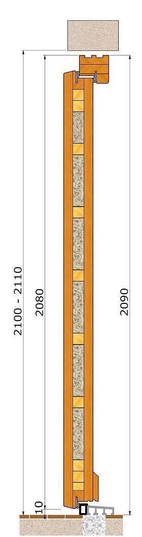 Przekrój pionowy drzwi zewnętrznych wejsciowych