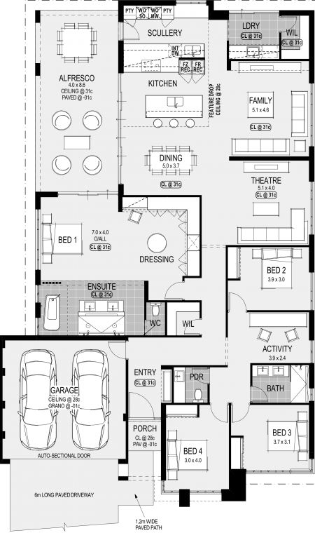 San Francisco Platinum floorplan. I would remove bed two amd activuty room and elongate the theater and possibly create a separate pole room