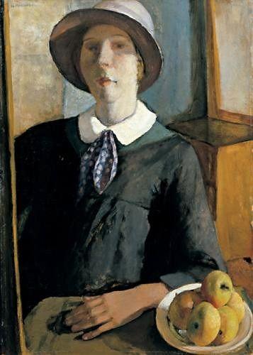 """Portrait of a woman with hat. (self portrait), Nella Marchesini. (1901 - 1953)"