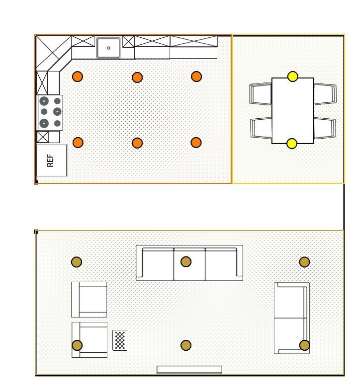 Image Of A Room With Segments For Calculating How Many Recessed Lights Each Area Will Need My Blog Recessed Lighting Layout Recessed Lighting Living Room Kitchen Recessed Lighting