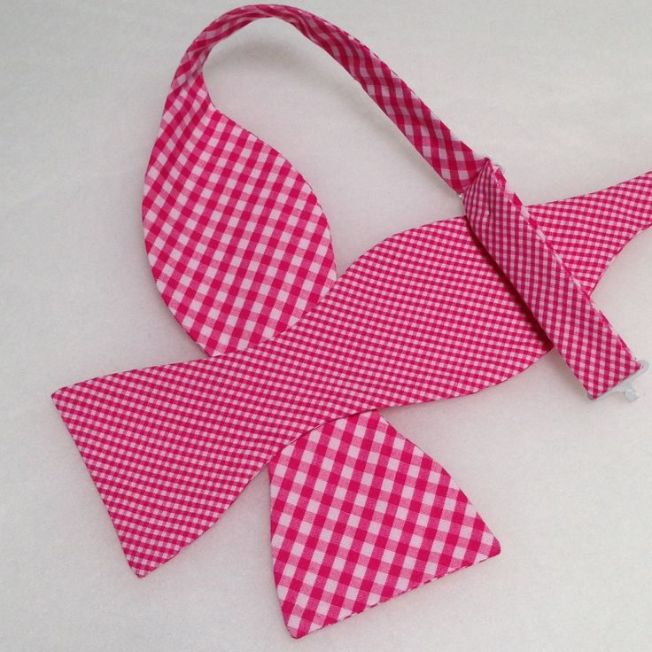 Double Sided, Pink & White Bow Tie, (Self-Tie)
