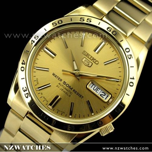 Seiko 5 Gold Tone Automatic Day Date Mens Watch SNKE06J1 SNKE06 Japan