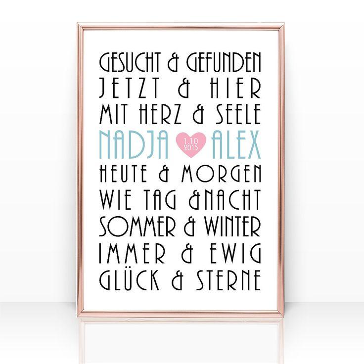 HOCHZEITSGESCHENK Geschenk Hochzeit Namen personalisiert Heirat Poster Traumpaare Druck Bild Wandbild Verlobung Valentinstag Jahrestag