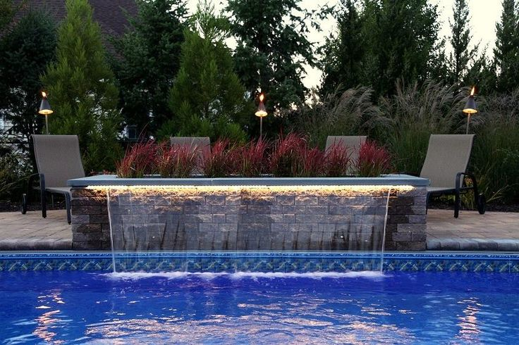 26 Summer Pool Bar Ideas To Impress Your Guests: 8 Ft Sheer Descent Waterfall With LED Remote-controlled