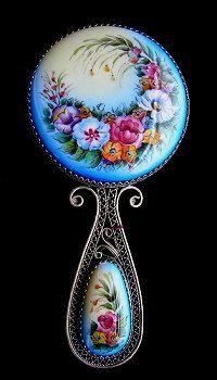 Russian Enamel  Floral Small Hand Mirror by RussianRostovJewell on Etsy