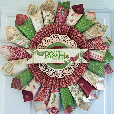 Gorgeous Christmas Wreath using scrapbook paper rolled into cones.  Rosettes for the middle with a lace doily.  Very easy.  Can create with a pad of scrapbook paper and have leftovers for cards.