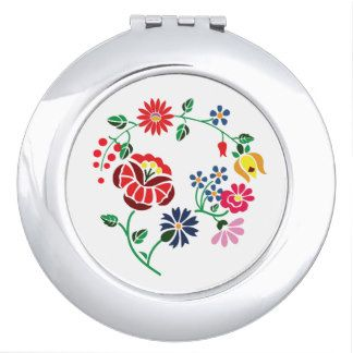 Round Compact Mirror with flower embroidery