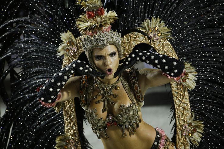 A performer from the Salgueiro samba school, during carnival celebrations at the Sambadrome in Rio, on February 16