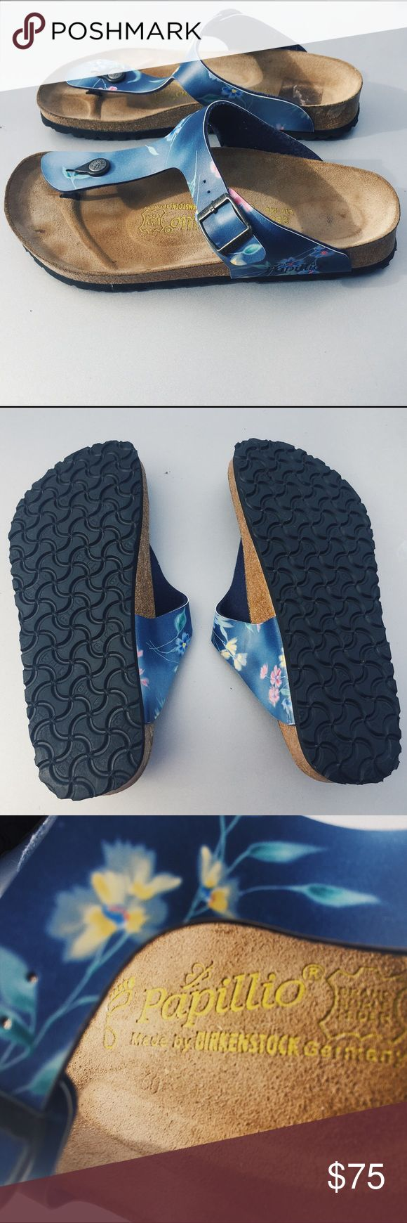 Birkenstock Papillio Gizeh Birko-Flor Sandals Birkenstock Papillio Gizeh Birko-Flor sandals in a RARE tropical floral blue printed pattern. These thong style sandals from Birkenstock in great condition! Only worn once, never out of the house. Size 41, fits a 10-11 best. Purchased new in Germany! Birkenstock Shoes Sandals