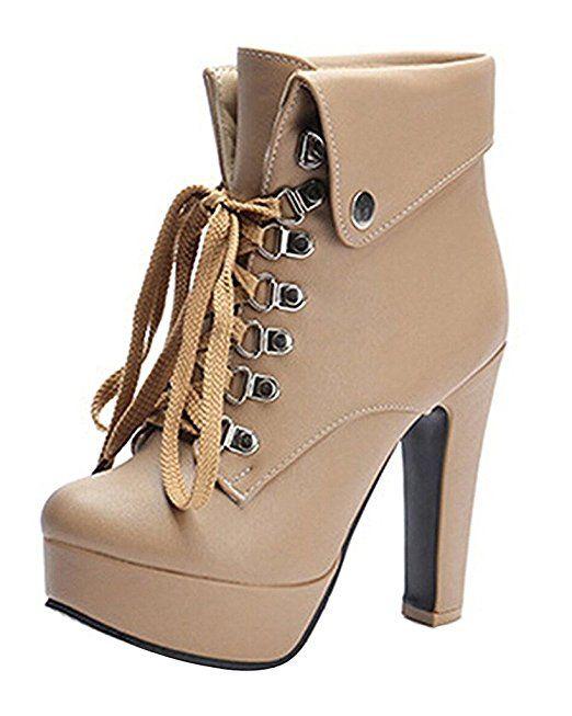 Minetom Donna Autunno Inverno Stivaletti Moda Tacco Alto Stivali Stringate Martin Boots Stiletto Scarpe Col Tacco Beige EU 38