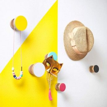 Coloured Wooden Wall Knobs