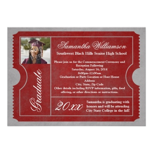 Scarlet and Red/Gray Photo Graduation Ticket Personalized Ceremony or Open House Invitation