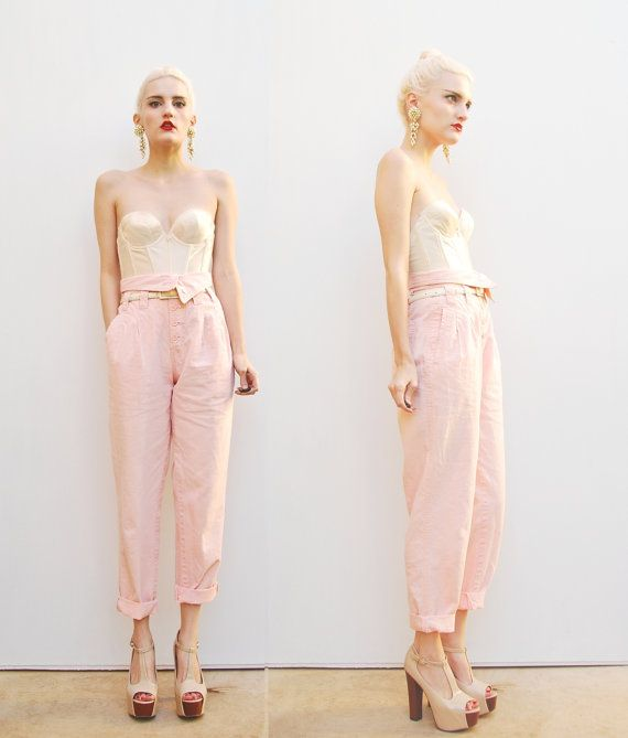 80s Peach Pants - High Waist Pants - Tapered Trousers - Pastel Pants - Pink Trousers