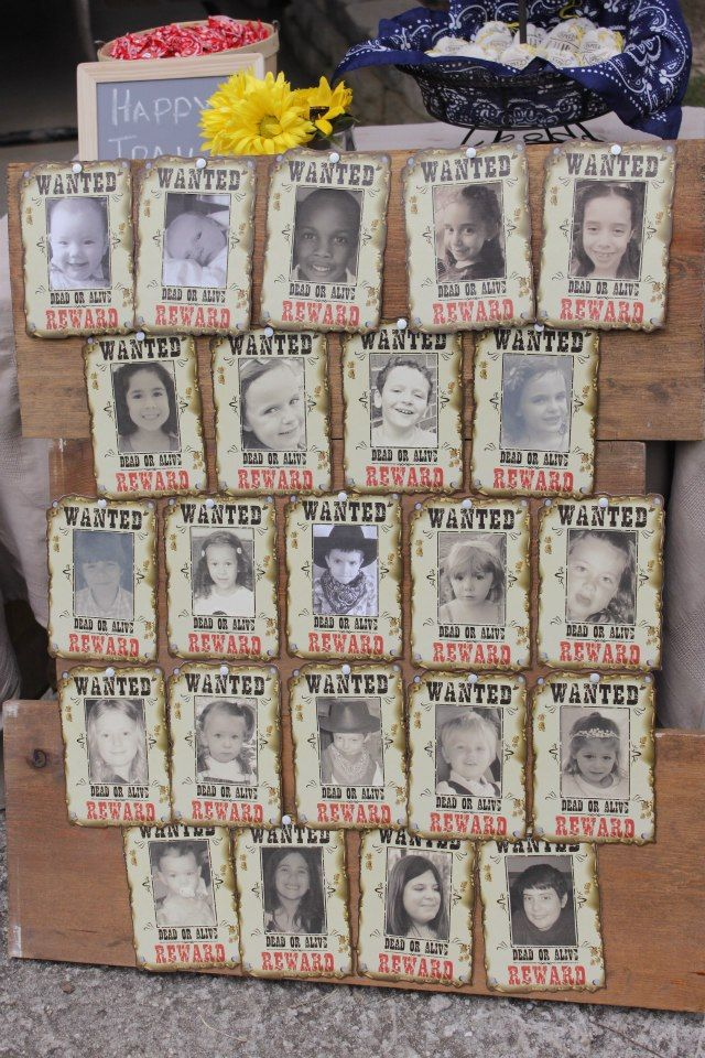 Kid's Cowboy Themed Birthday Party! - Jolly Mom Love this idea to make wanted pictures for the kiddos who show up (maybe thank you wanted for having too good a time)???