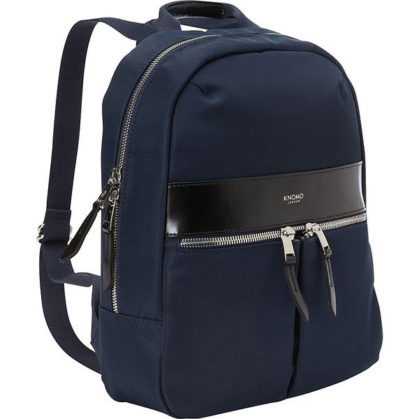 Knomo Beauchamp Mini Tablet Backpack - Navy - School Backpacks ($96) ❤ liked on Polyvore featuring bags, backpacks, blue, miniature backpack, mini backpack, navy blue backpack, navy blue bag and knomo bags