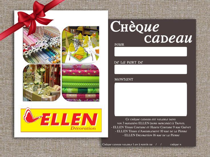 Pour toutes les occasions, pensez aux chèques cadeaux Ellen Décoration.  C'est simple, choisissez le montant et offrez le à la personne de votre choix !  Disponibles sur demande à la caisse du rayon Couture Haute Couture de votre magasin Ellen Décoration. =D
