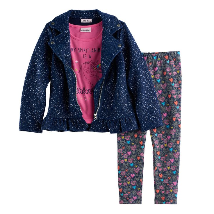 "Girls 4-6x Little Lass Moto Jacket, ""My Spirit Animal Is A Unicorn"" Tee & Leggings Set, Size: 6X, Pink And Blue"