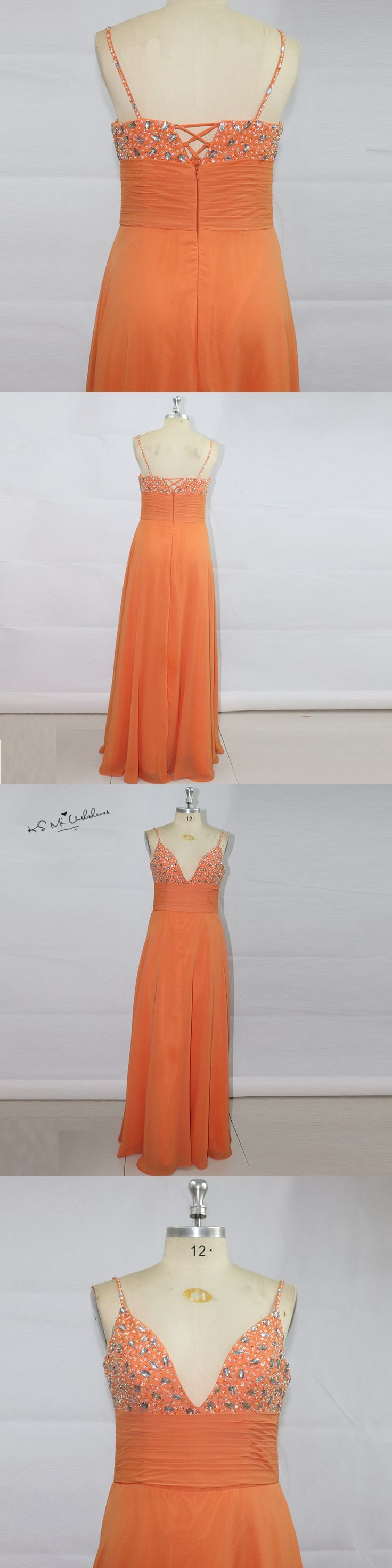 Sexy Orange Long Wedding Guest Dresses 2017 Crystals Bridesmaid Dress Beads Elegant Cheap Prom Dress Vestido de Gala Festa Baile