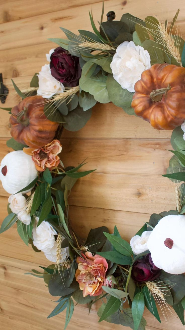 Fall Wreath Tutorial, Diy Fall Wreath, Fall Diy, Wreath Ideas, Elegant Fall Wreaths, Autumn Wreaths For Front Door, Fall Containers, Clothes Pin Wreath, Diy Door