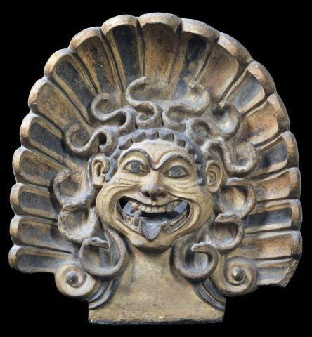 Tile antefix with Gorgon head, 6th century B.C., Veii