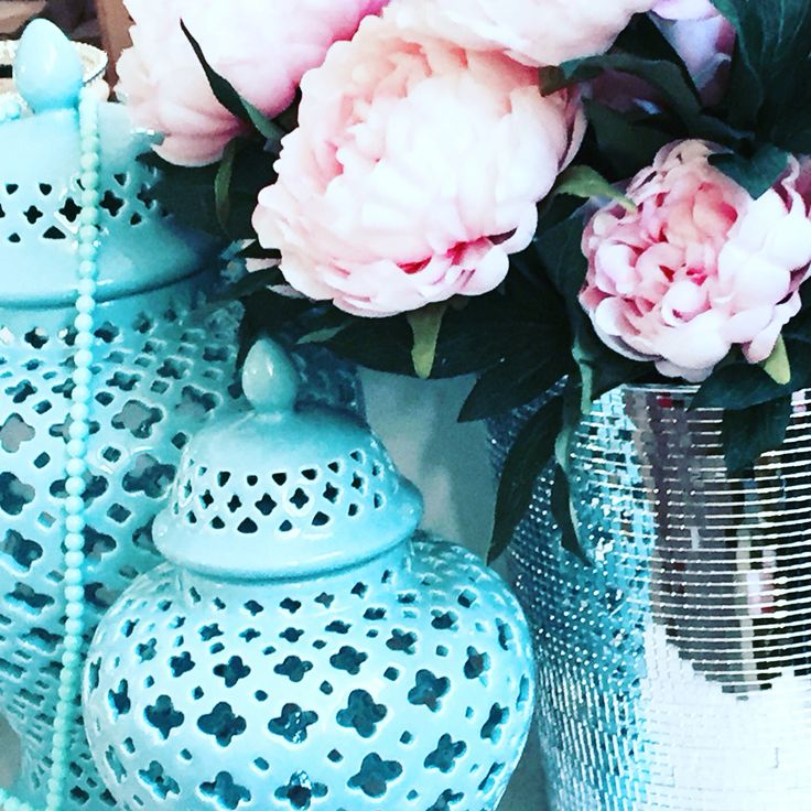 Maison Helsinki loves these trendy handmade turquoise temple jars and pionies
