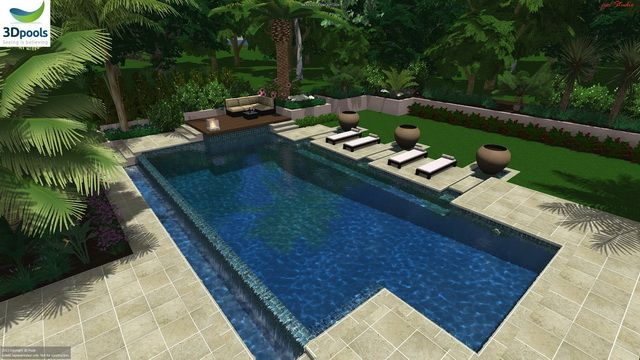 Large resort style family pool with floating sun lounge areas, water features, 15m lap lane & wet edge spillover. Buy this pool design and many more stylish designs at www.3d-pools.com.au