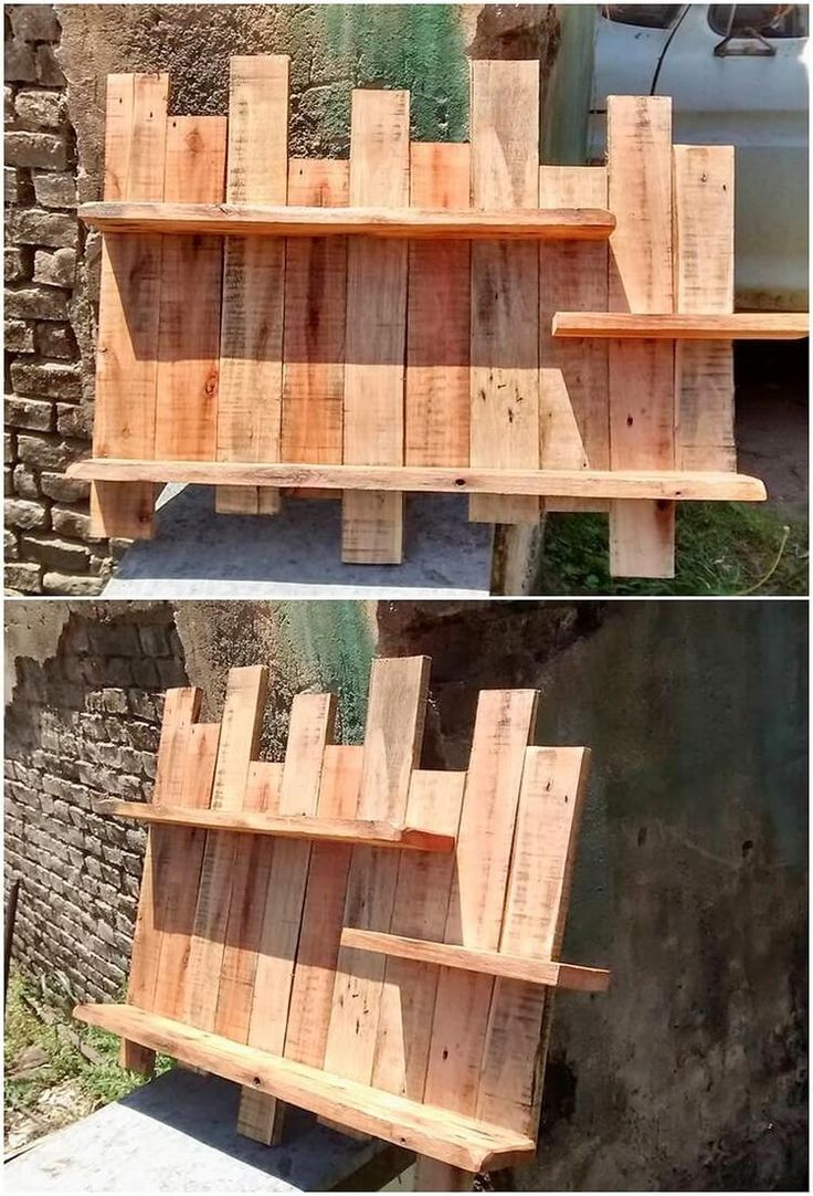 This image is showing you out the wall shelf designing wood pallet effect with the incorporative use of the rustic pallet framing in it. It is rather creative and simplicity added out in the whole creation. It is also incorporated with the taste of the shelf being adjusted right on top of it.