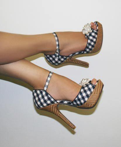 Blue Polka Platform Sandals