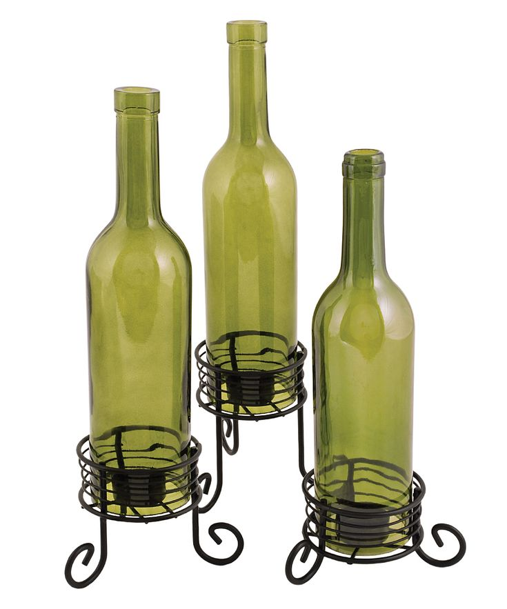 Black Wine Bottle Candleholder Set Daily Deals For Moms