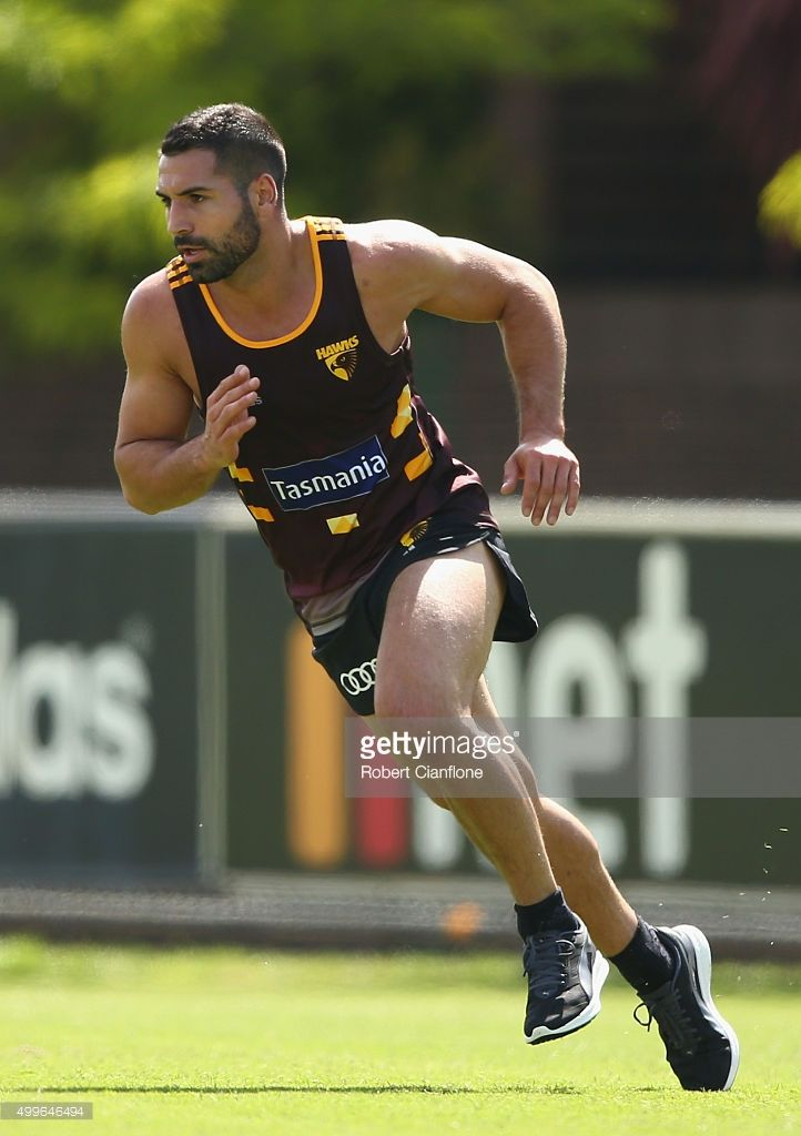 Paul Puopolo of the Hawks runs during a Hawthorn Hawks AFL pre-season training session at Waverley Park on December 3, 2015 in Melbourne, Australia.