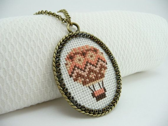 Coral hot air balloon cross stitch necklace