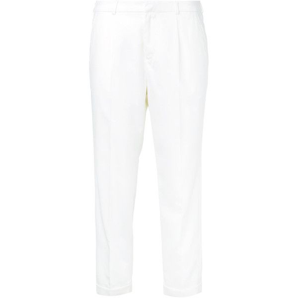 Loveless Cropped Tailored Trousers ($145) ❤ liked on Polyvore featuring pants, capris, tailored pants, white cropped trousers, white trousers, cropped pants and white pants