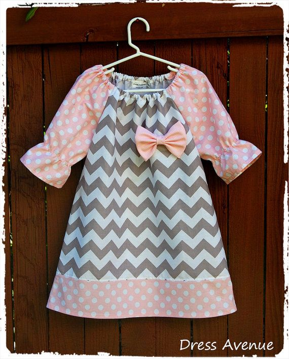 Chevron dress! Toddler girls dress. Spring dress. Peasant Zig zag Dress Elbow 3/4 sleeves Grey chevron, pink dots, bow! Size 1,2, 3,4, 5,6,7...
