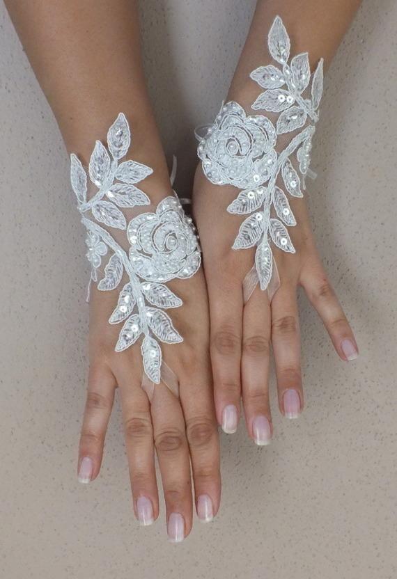 gant mariee | Mariage - Ivoire de mariage Paire de gants, gants de dentelle ivoire ...
