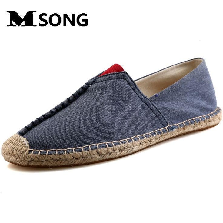MSONG Fashion Summer Men Canvas Shoes Breathable Casual Shoes Men canvas Shoes Loafers Comfortable Ultralight Lazy Shoes Flats