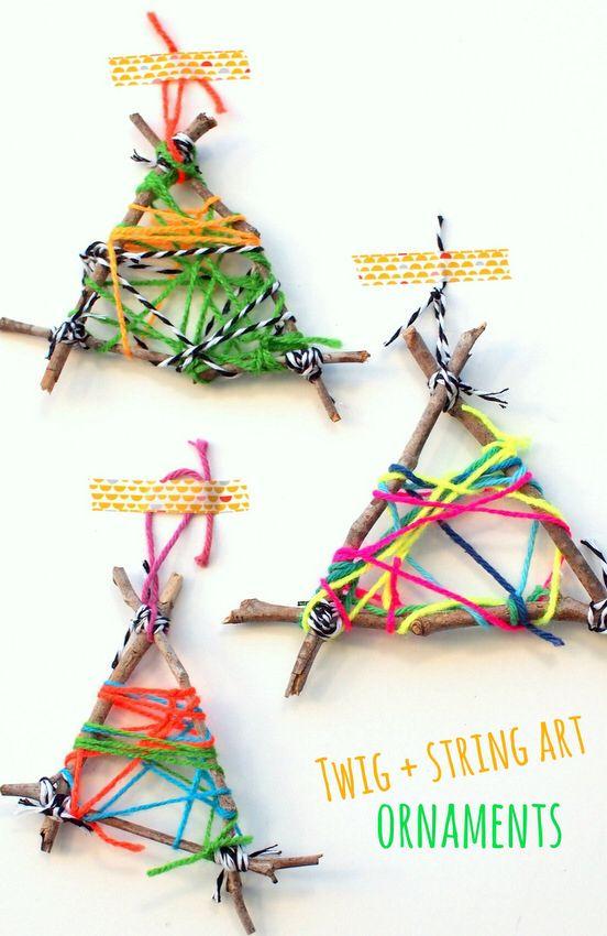 Twig & wool decorations Luonnonmateriaalit askartelu ulkona lapset