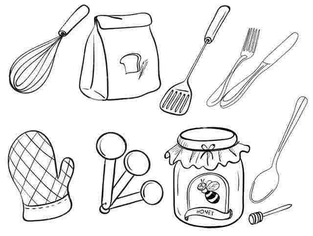 Kitchen Tools Coloring Pages Baking Utensils Coloring Pages Food Coloring Pages