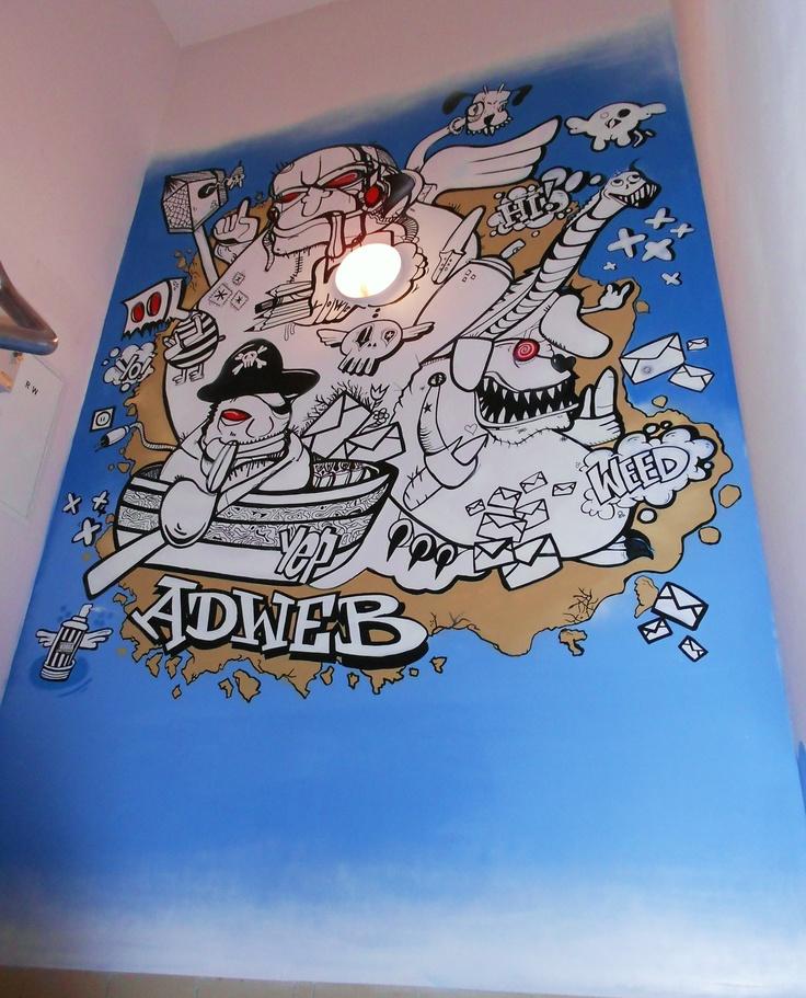 graffiti. graffiti na zlecenie , graffiti na zamówienie , graffiti w biurze , graffiti wewnętrze office, post office , grafix, weed