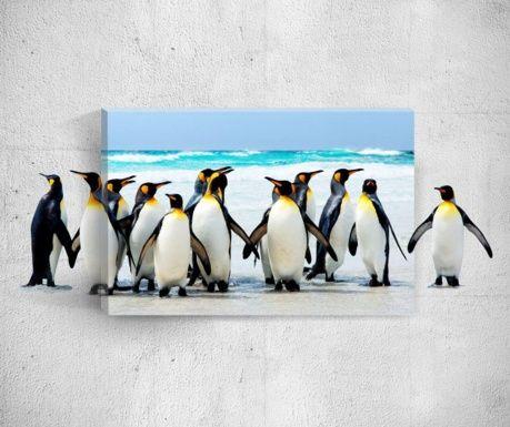 Tablou 3D Effect Penguins 40x60 cm
