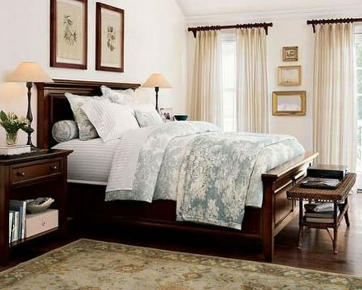 Bedroom:Bedroom Rustic Bedding Furniture Sets Delectable Of Dark Brown Mahogany Wood Bed Frames High Headboard Also White Gray Colors Floral Pattern Covered Bedding Shets Pillows Wooden Design Ideas 2017 Elegant Four-Posted Bedroom Design with Dark Wood Console Table