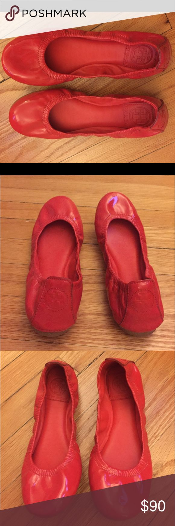 Tory Burch Eddie Red Ballet Flats 6.5 ToryBurch size 6.5 Red Eddie Ballet Flats worn once and in excellent condition ! Tory Burch Shoes Flats & Loafers