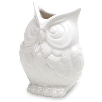 "SQUAT OWL VASE - ceramic white owl vase 7"" - great for flowers, kitchen tools, & more"