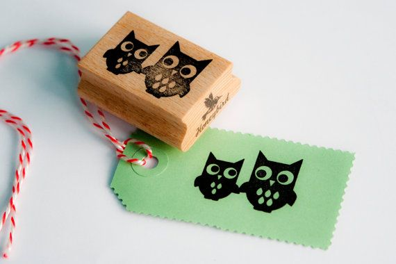 Owls stamp by MissHoneyBird on Etsy, €11.95