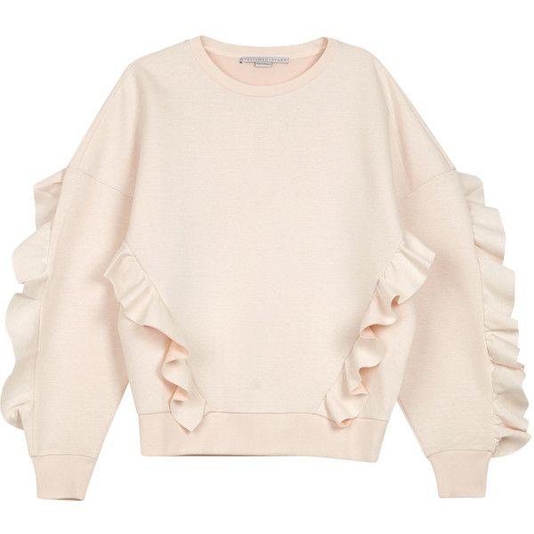Stella McCartney Blush ruffle-trimmed neoprene sweatshirt (610 CAD) ❤ liked on Polyvore featuring tops, hoodies, sweatshirts, sweaters, shirts, frilly shirt, frilly tops, frilled shirt, flounce tops and shirt top